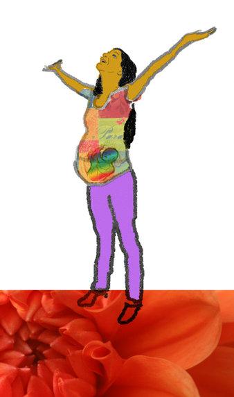 Grafik einer kraftvollen glücklichen Schwangeren